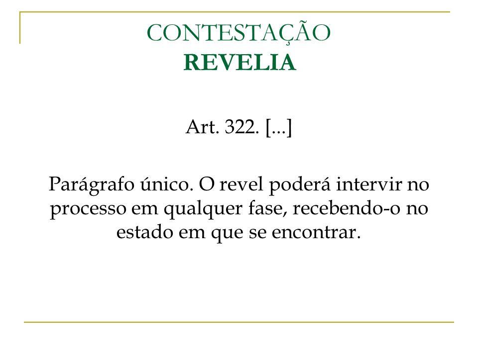CONTESTAÇÃO REVELIA Art. 322. [...]